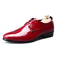 Men's Flats Spring Fall Comfort PU Outdoor Party & Evening Casual Flat Heel Hook & Loop Lace-up Black Red Other