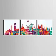 MINI SIZE E-HOME Famous City Mark Clock in Canvas 3pcs