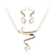 Komplet nakita Kristal luksuzni nakit Biseri Imitacija bisera Umjetno drago kamenje imitacija Diamond Legura Zlato1 Ogrlica 1 par