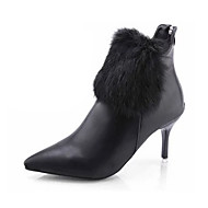 Women's Boots Fashion Boots PU Fall Winter Casual Dress Fashion Boots Stiletto Heel White Black Ruby 1in-1 3/4in