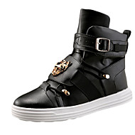 Sneakers-PU-Komfort-Herre-Sort Rød Hvid-Fritid-Flad hæl