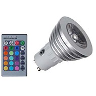 GU10/GU5.3/E27/E14 Dimmable LED Bulbs3W RGB Color Changing Spotlight with IR Remote Control Mood Ambiance Lighting for Home Decoration (AC 85-265V)