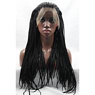 Long Black peruca micro trançados rendas frente perucas glueless aquecer perucas sintéticas amigáveis