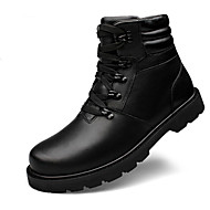 Women's Boots Fall Winter Comfort PU Casual Flat Heel Lace-up Black Others