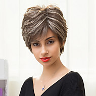 Fashionable Slightly Texture Short Layered Capless Wigs Natural Straight Ombre Blends Human Hair
