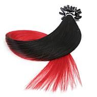 neitsi 20 '' 50g / lot 1g / s ombre wstępnie połączone paznokci u przechylić fuzji ludzkich włosów rozszerzeniach 100% remy t1-czerwony #