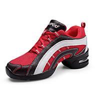 Chaussures de danse(Rouge Blanc) -Non Personnalisables-Talon Plat-Cuir Tissu-Latines Jazz Baskets de Danse Modernes Bottes de Danse