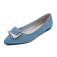 Dame Flate sko PU Vår Sommer Avslappet Flat hæl Svart Blå Rosa Lyseblå Flat