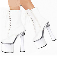 Women's Boots Spring Summer Fall Winter Comfort Novelty PU Outdoor Party & Evening Dress Chunky Heel Lace-up White Walking