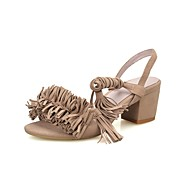 Women's Sandals Summer Other Suede Office & Career Party & Evening Dress Casual Chunky Heel Tassel Black Red Almond Other