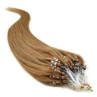 μη επεξεργασμένα βραζιλιάνα παρθένα huamn μαλλιά 16-24inch μικρο δαχτυλίδια βρόχο / χάντρες μαλλιά επεκτάσεις μεταξένια φυσικά ίσια μαλλιά