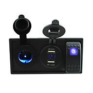 DC 12V/24V LED 4.2A dual USB charger power voltmeter Socket with rocker switch jumper wires and housing holder