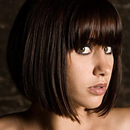 Cute Bob Style 12inch Natural Black #1b Natural Straight Bangs Human Hair Capless Wigs
