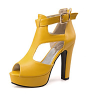 Kényelmes Újdonság-Vastag-Női cipő-Szandálok-Ruha Alkalmi Party és Estélyi-Személyre szabott anyagok Bőrutánzat-Fekete Sárga Fehér