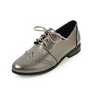 Damen-Flache Schuhe-Büro Kleid Lässig-Kunstleder-Flacher AbsatzSchwarz Beige Grau
