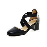 Kényelmes Újdonság-Vastag-Női cipő-Magassarkúak-Esküvői Irodai Ruha Alkalmi Party és Estélyi-Szintetikus PU-Fekete Sárga Rózsaszín Fehér