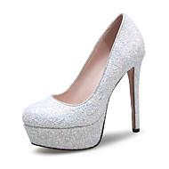 Feminino-Saltos-Sapatos clube-Salto Agulha-Rosa Vermelho Branco-Gliter Materiais Customizados-Casamento Social Festas & Noite