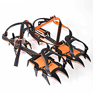 Crampons Hiking Camping Outdoor Anti-skidding Nylon Metal Black Orange Anti-slip 12 Teeth Ice Mountain Climbing Walking Spikes Shoes Boots Gripper