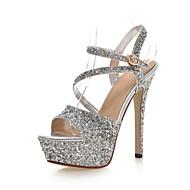 Egyéb-Stiletto-Női cipő-Magassarkúak-Esküvői Ruha Party és Estélyi-Szintetikus-Fekete Fehér Arany Ezüst