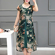 Damen Lose Kleid-Ausgehen Übergröße Retro Druck Rundhalsausschnitt Midi Kurzarm Grün Polyester Sommer Mittlere Hüfthöhe Mikro-elastisch