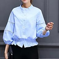 Dames Sexy Street chic Verfijnd Lente Zomer Overhemd,Uitgaan Nette schoenen Werk Effen Opstaand Lange mouw Blauw Wit Oranje Geel Overige