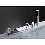 Brass Waterfall Tub Faucet with Hand Shower (Three Handles)
