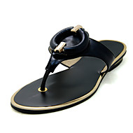 Women's Slippers & Flip-Flops Spring Summer Fall T-Strap PU Outdoor Casual Flat Heel Buckle Black Pink Gold