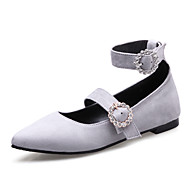 Women's Flats Spring Summer Fall Other Microfibre Office & Career Party & Evening Dress Flat Heel Rhinestone Black White Gray