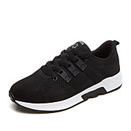 Women's Athletic Shoes Spring Summer Fall Winter Light Soles Fabric Athletic Flat Heel Lace-up Black Red Gray Running