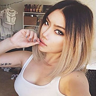 Grade 9A Brazilian Virgin Hair Short Lace Front Bob Wigs Straight Hair Two Tone Ombre T1B/27# Color Human Virgin Hair Lace Wigs
