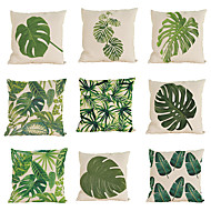 Set of 9 Novelty  Tropical plant pattern Linen Pillowcase .Coastal Beach Style