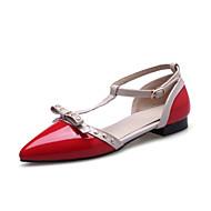 נשים-שטוחות-עור פטנט נצנצים חומרים בהתאמה אישית-חדשני נעלי מועדון-שחור אדום בז'-חתונה משרד ועבודה יומיומי-עקב שטוח