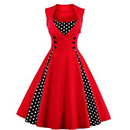 Women's Plus Size Simple Skater Dress,Plaid Stand Knee-length ½ Length Sleeve Blue / Red / White / Black Cotton Summer Mid Rise Inelastic