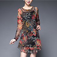 Women's Plus Size Going out Sophisticated Loose Dress,Print Round Neck Above Knee Long Sleeve Polyester Black Green Spring Mid Rise