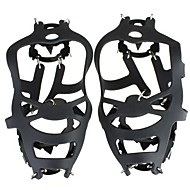 Crampons Hiking Camping Outdoor Anti-skidding Rubber Steel Black Silver 18 Teeth Antislip Ice Snow Shoe Spikes Mountaineering