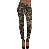 Women's Skinny Jeans PantsGoing out Holiday Vintage Street chic All Match Hin Thin Camouflage Ripped Mid Rise Zipper  Micro-elastic Spring