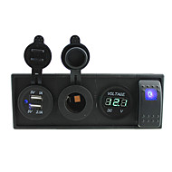 dc 12v / 24v ledet power voltmeter 3.1a usb port stikkontakter med rocker switch jumperledninger og boliger holder