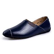 Masculino-Mocassins e Slip-Ons-Mocassim-Rasteiro-Preto Marrom Azul Escuro-Pele-Casual