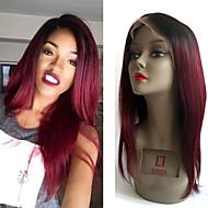 130% peruki zagęszczenie włosów peruwiański koronki przednie proste włosy czarny korzeń ciemny kolor wina koronki virgin ludzki włos