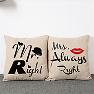 2pcs Simple Modern  MR. MRS. Pillowcase Home Decor Pillow Cover