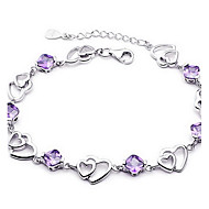 Armbanden met ketting en sluiting Kristal Liefde Modieus Sterling zilver Sieraden Paars Sieraden Voor 1 stuks