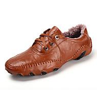 Herre-Lær-Flat hæl-Mokkasin-Flate sko-Friluft Fritid-Svart Brun