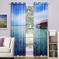Deux Panneaux Le traitement de fenêtre Moderne , Nature & Paysages Salle de séjour Polyester Matériel Rideaux opaquesDécoration