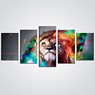 Canvastaulu Abstrakti Eläin Moderni,5 paneeli Kanvas Horisontaalinen Panoramic Tulosta Art Wall Decor For Kodinsisustus