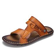 Herre-Mikrofiber-Flat hæl-Komfort-一脚蹬鞋、懒人鞋-Friluft Fritid-Brun Kaki