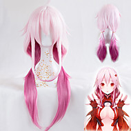 yuzuriha inori cosplay parykk skyldig krone varmeresistent syntetisk lang rett hår custome parykk høy kvalitet bølge parti parykk rosa