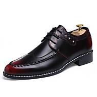 Золотой Черный Красный-Для мужчин-Для офиса Повседневный Для вечеринки / ужина-Кожа-На плоской подошвеТуфли на шнуровке