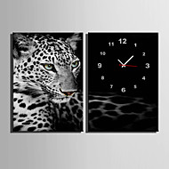 E-HOME® Leopard Clock in Canvas 2pcs