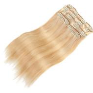 9pcs / set clipe de 120g de luxo em extensões do cabelo misturada 16inch 20inch 100% cabelo humano em linha reta loira para as mulheres