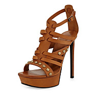 Women's Sandals Summer Other Leatherette Office & Career Party & Evening Dress Casual Stiletto Heel Rivet Buckle Brown